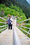 Tourists on valley Royalty Free Stock Images