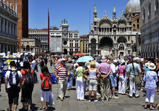 Tourists in Venice, St.Marco. Image was taken in June 2011, in Venice, Italy St.Marco Square Royalty Free Stock Photos
