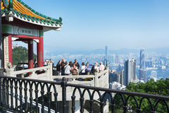 Tourists at Victoria Peak, Hong Kong Stock Photos