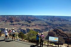 Tourists View Grand Canyon. Tourist stand and view at the south rim of Grand Canyon National Park in Arizona, USA Stock Photo