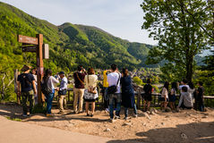 Tourists at the view point of Shirakawa-go Royalty Free Stock Photography