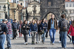 Tourists view Prague from Charles Bridge Royalty Free Stock Image