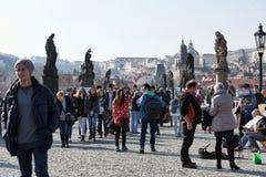 Tourists view Prague from Charles Bridge Royalty Free Stock Photo