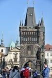 Tourists view Prague from Charles Bridge Stock Photos