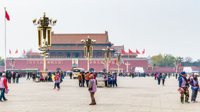 Tourists and view The Tiananmen monument Royalty Free Stock Photos