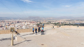 Tourists on a viewing platform of the fortress of Santa Barbara Royalty Free Stock Images