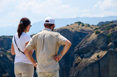 Tourists on a viewing platform in Meteors (Greece) admire the vi Stock Photography