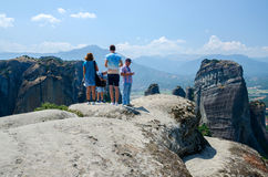 Tourists on a viewing platform in Meteors (Greece) Royalty Free Stock Image