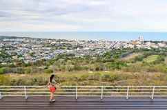 Tourists on viewpoint Hua Hin city in the evening Royalty Free Stock Photography