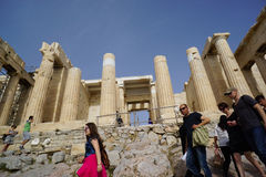 Tourists visit Acropolis in Athens,Greece. Stock Photography