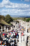 Tourists visit the archaeological ruins of the Ionian city of Ephesus, Turkey Royalty Free Stock Photo