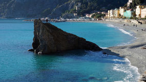 Tourists visit beach in Monterosso, Italy Stock Images