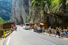 Tourists visit the Bicaz Canyon. Canyon is one of the most spectacular roads in Romania. Stock Photography