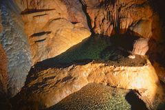 Great cave, Grotta di Su Mannau, Fluminimaggiore, Sardinia. Tourists visit the cave of `Su Mannau` translation: Great Cave, considered one of the largest to royalty free stock photography