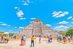 Tourists visit Chichen Itza - Yucatan, Mexico royalty free stock images