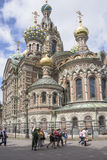 Tourists visit the Church of the Resurrection (Savior on Spille Royalty Free Stock Image
