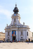 Tourists visit the city center of Wadowice Royalty Free Stock Photography