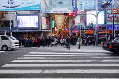 Tourists visit Dotonbori on December 13, 2014 in Osaka Stock Photos