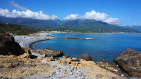 Tourists visit the famous beach at Sanxiantai in Taitung County, Stock Photos