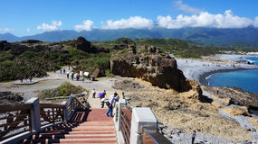 Tourists visit the famous beach at Sanxiantai in Taitung County, Royalty Free Stock Photos