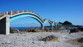 Tourists visit the famous bridge at Sanxiantai in Taitung Count Royalty Free Stock Image