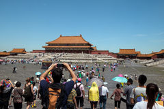 Tourists visit the Forbidden city, Beijing, China Royalty Free Stock Images