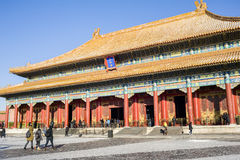 Tourists visit Forbidden City in winter Stock Image