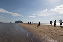 Tourists visit Golden Scale Dragon Spine Beach. Trang, Thailand - December 10, 2015: Tourists visit Golden Scale Dragon Spine Beach in Palian of Trang only see Stock Images