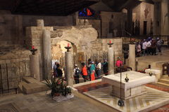 Tourists visit the Grotto of the Annunciation Royalty Free Stock Photos