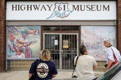 Tourists visit Highway 61 Museum of Leland Royalty Free Stock Photos