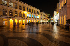 Tourists visit the Historic Center of Macao - Senado Square Royalty Free Stock Photos