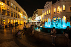 Tourists visit the Historic Center of Macao - Senado Square Royalty Free Stock Photo