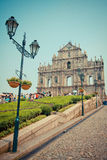 Tourists visit the Historic Center of Macau Stock Images