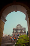 Tourists visit the Historic Center of Macau Stock Photography