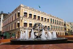 Tourists visit historical buildings surround the Leal Senado Squ Royalty Free Stock Photos