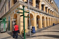 Tourists visit historical buildings surround the Leal Senado Squ Stock Photos