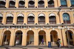 Tourists visit historical buildings surround the Leal Senado Squ Royalty Free Stock Image