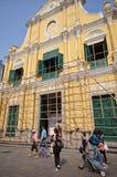 Tourists visit historical buildings surround the Leal Senado Squ Stock Photography