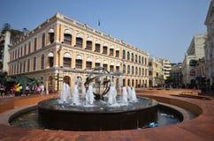 Tourists visit historical buildings surround the Leal Senado Squ Stock Image