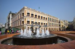Tourists visit historical buildings surround the Leal Senado Squ Royalty Free Stock Photography