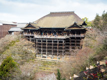 Tourists visit  Kiyomizu-dera temple,Japan. KYOTO, JAPAN - MARCH 08,2015:  Tourists visit  Kiyomizu-dera temple. Veranda of main hall is one of the best view Stock Images