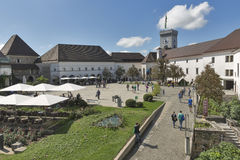 Tourists visit Ljubliana Castle in Slovenia Royalty Free Stock Images