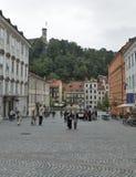 Tourists visit Ljubliana Novi square in Slovenia Royalty Free Stock Images