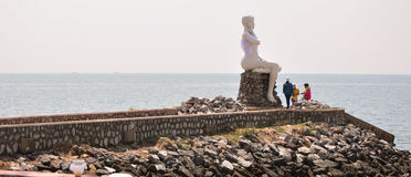 Tourists visit at the Mermaid statue Stock Photography