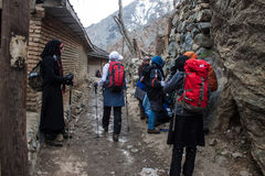 Tourists visit mountains in Darband quarter Stock Image