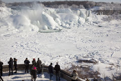 Tourists visit Niagara Falls during winter season Royalty Free Stock Photos