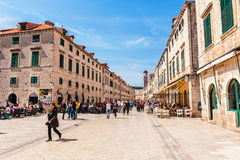 Tourists visit the Old Town of Dubrovnik, a UNESCO's World Heritage Site Stock Images