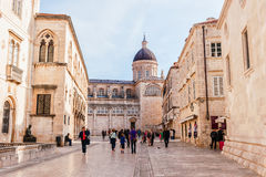 Tourists visit the Old Town of Dubrovnik, a UNESCO's World Heritage Site Stock Image