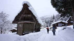 Tourists visit old village in Shirakawa-go, Japan. Royalty Free Stock Photography