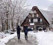 Tourists visit the old village in Shirakawa-go, Japan Stock Photo